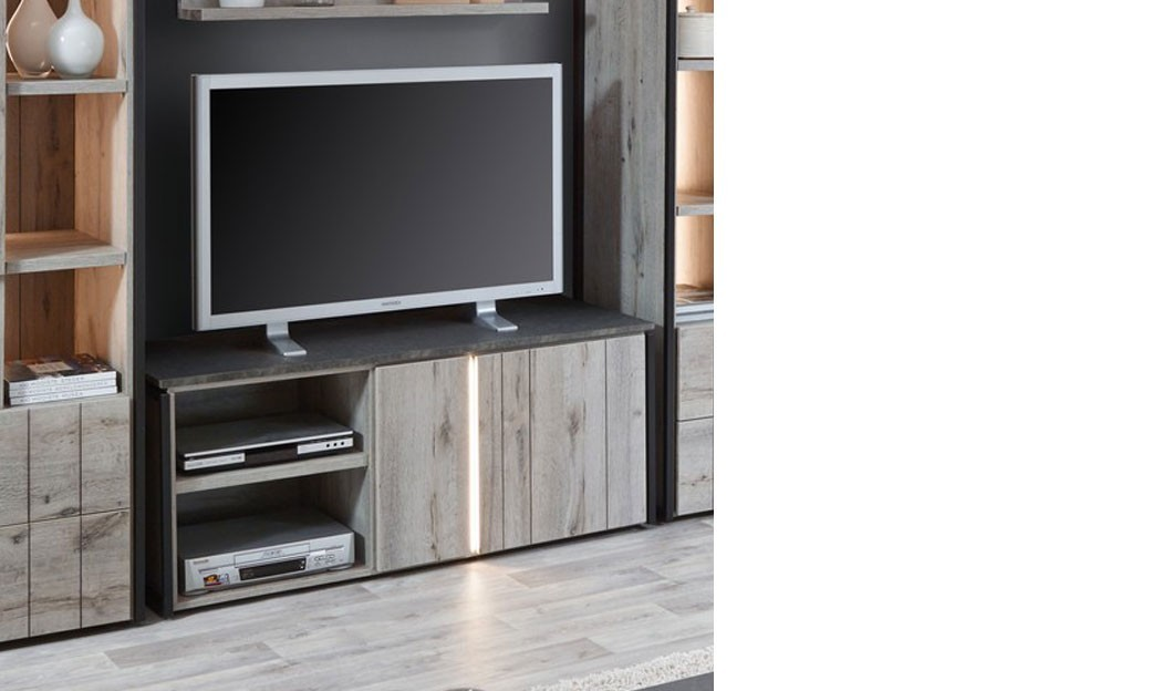 meuble tv industriel ch ne gris et marbre. Black Bedroom Furniture Sets. Home Design Ideas