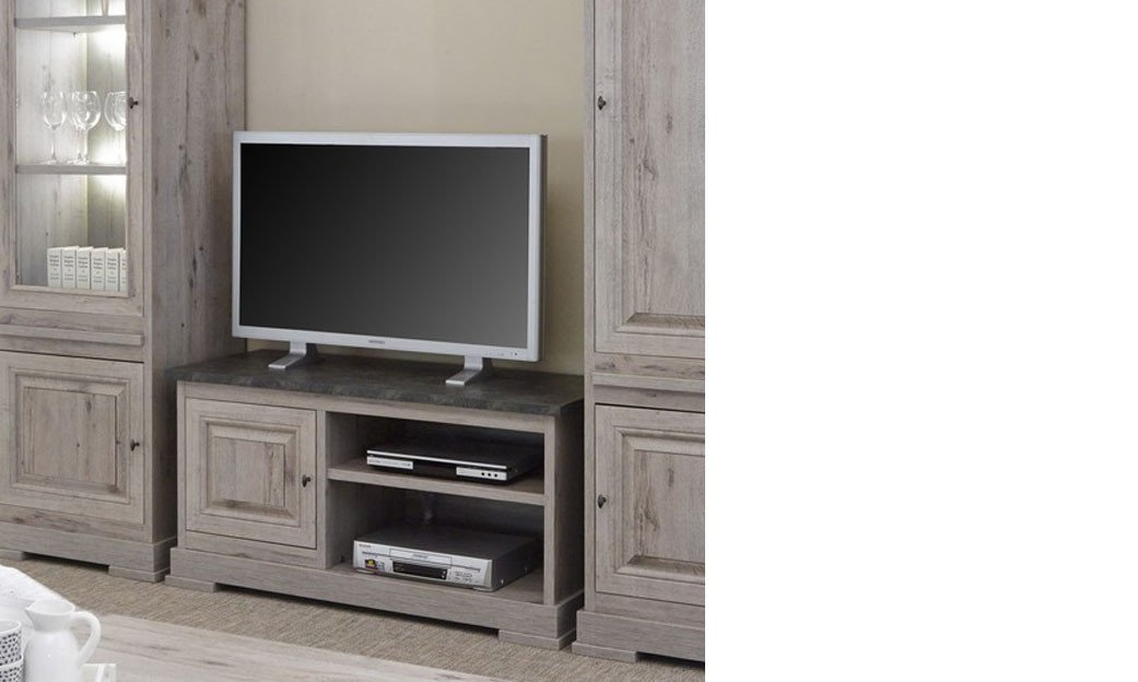petit meuble tv contemporain ch ne gris et marbre. Black Bedroom Furniture Sets. Home Design Ideas