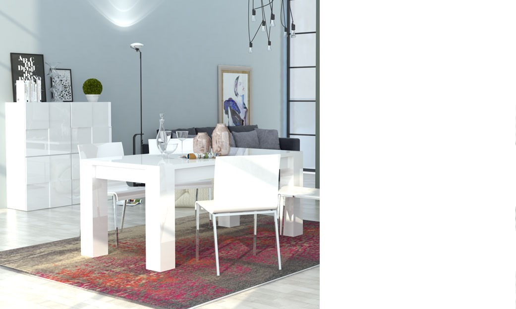 Salle a manger design blanc laqu betty for Salle a manger italienne design