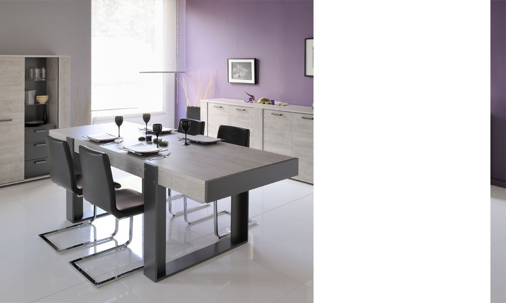 Beautiful table salle a manger gris clair contemporary for Salle a manger complete grise