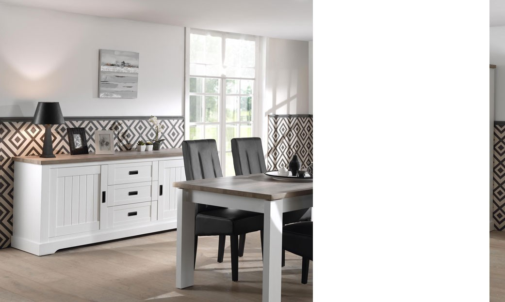 salle manger compl te couleur bois blanc et brun contemporaine jackson. Black Bedroom Furniture Sets. Home Design Ideas