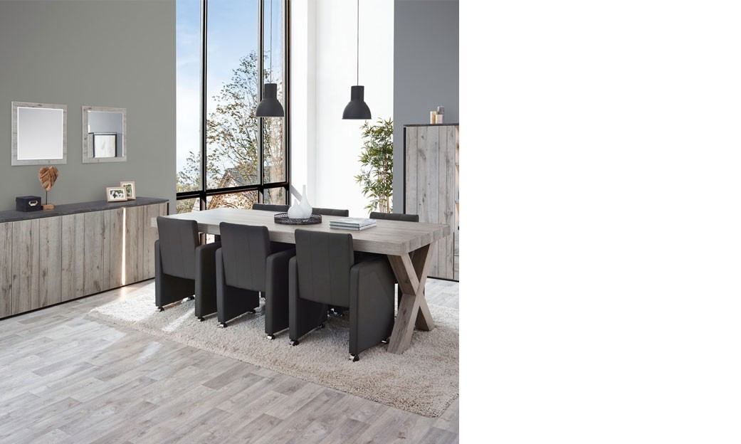 salle manger industrielle couleur ch ne gris et marbre nera 3. Black Bedroom Furniture Sets. Home Design Ideas