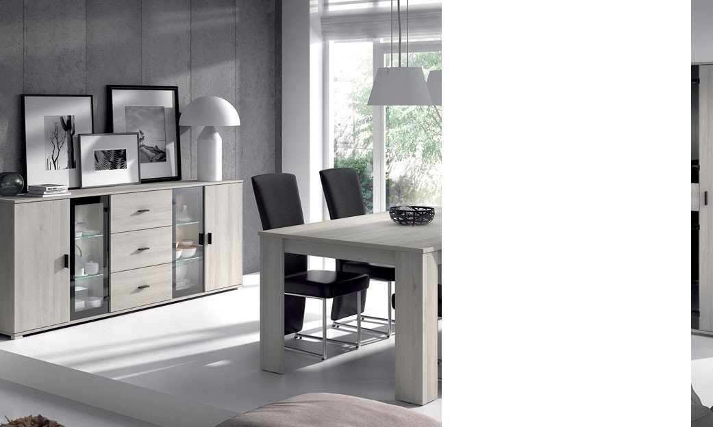 salle manger compl te couleur ch ne gris contemporain. Black Bedroom Furniture Sets. Home Design Ideas