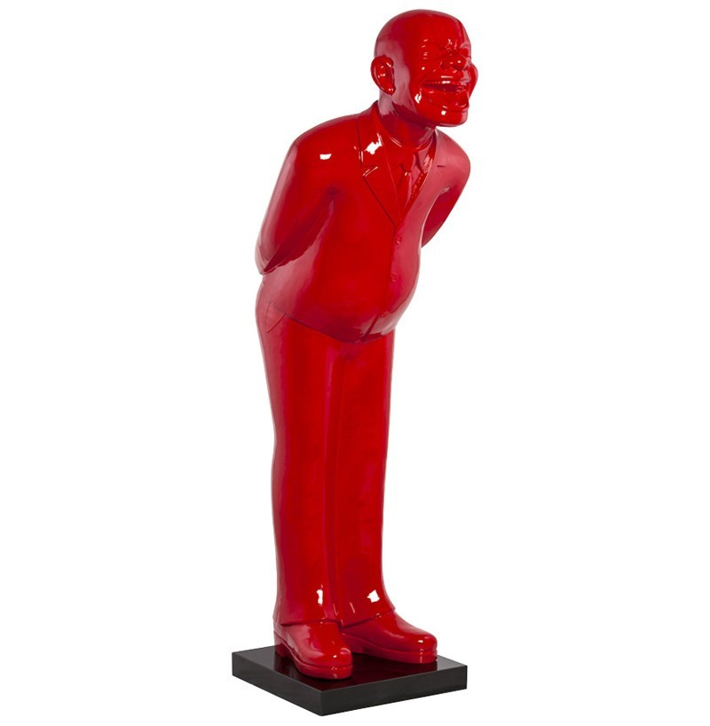 Statue design homme qui rit rouge welcome zd1 obj deco for Objet de decoration rouge