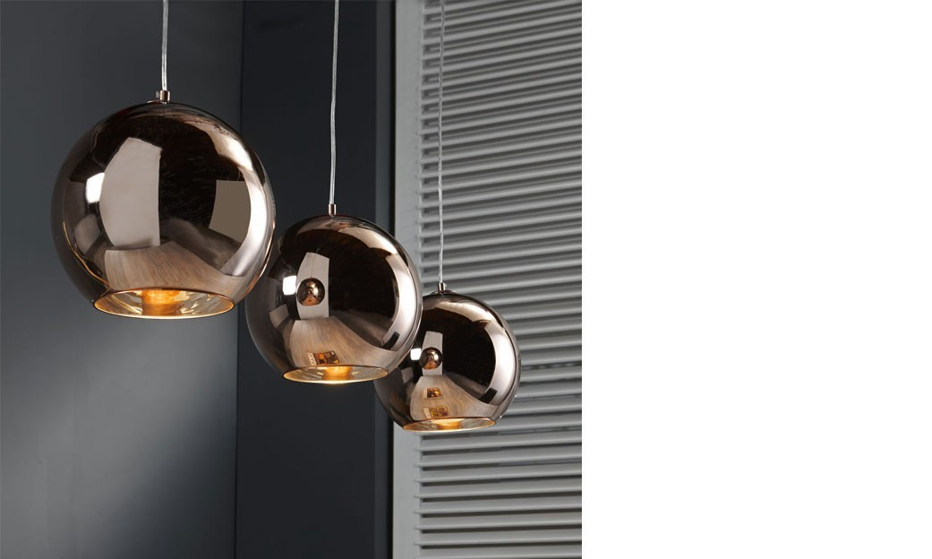 Luminaire suspension globe en cuivre design trot for Luminaire suspension design