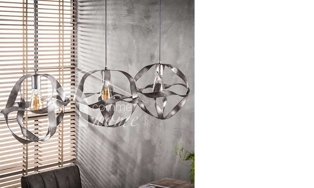 Suspension design gris argenté DEXTER