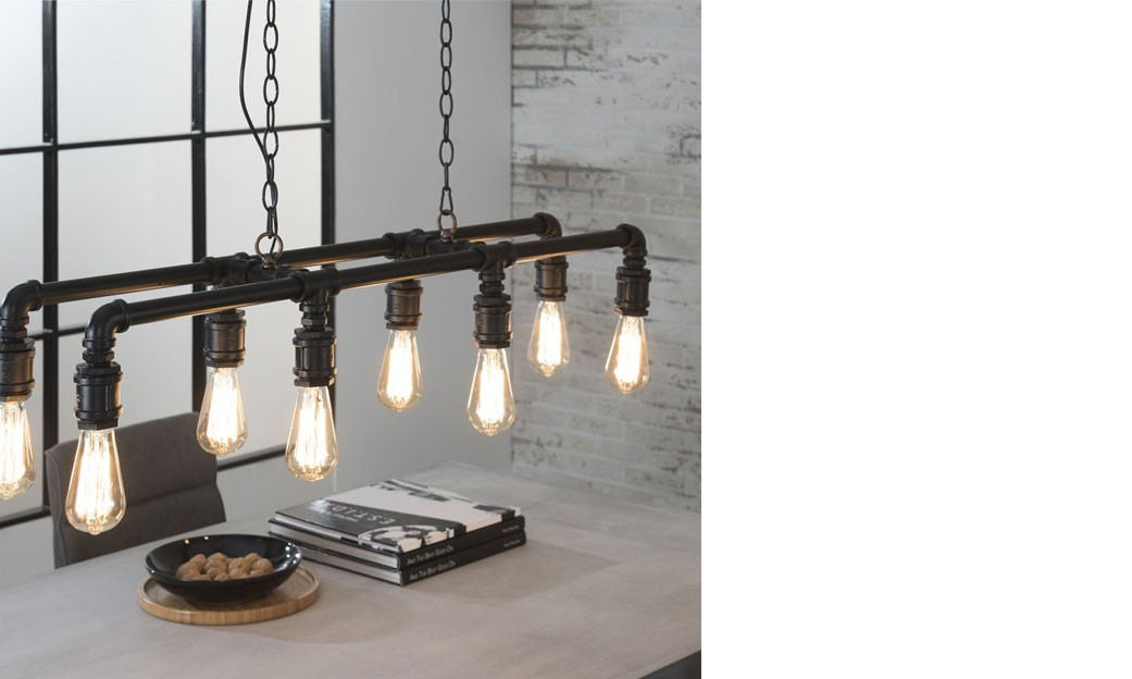 Suspension industrielle 8 lampes en m tal noir lumos - Suspension industrielle noire ...