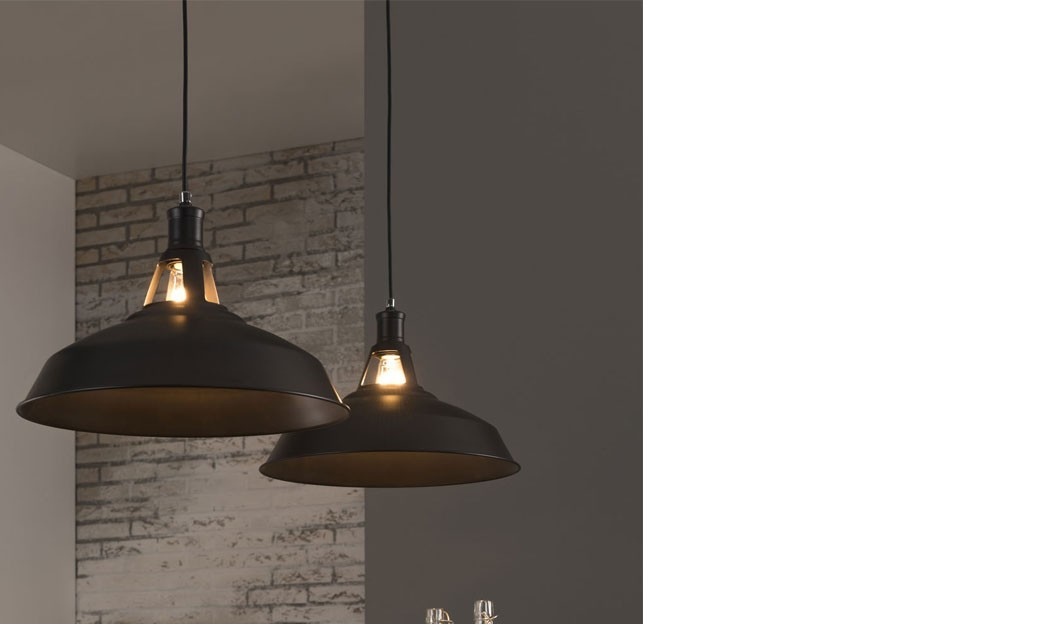 Suspension industriel tarbes m tal noir 1 x 60 w eglo for Luminaire metal