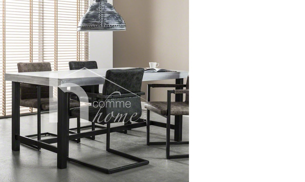 table manger industriel en b ton et acier. Black Bedroom Furniture Sets. Home Design Ideas