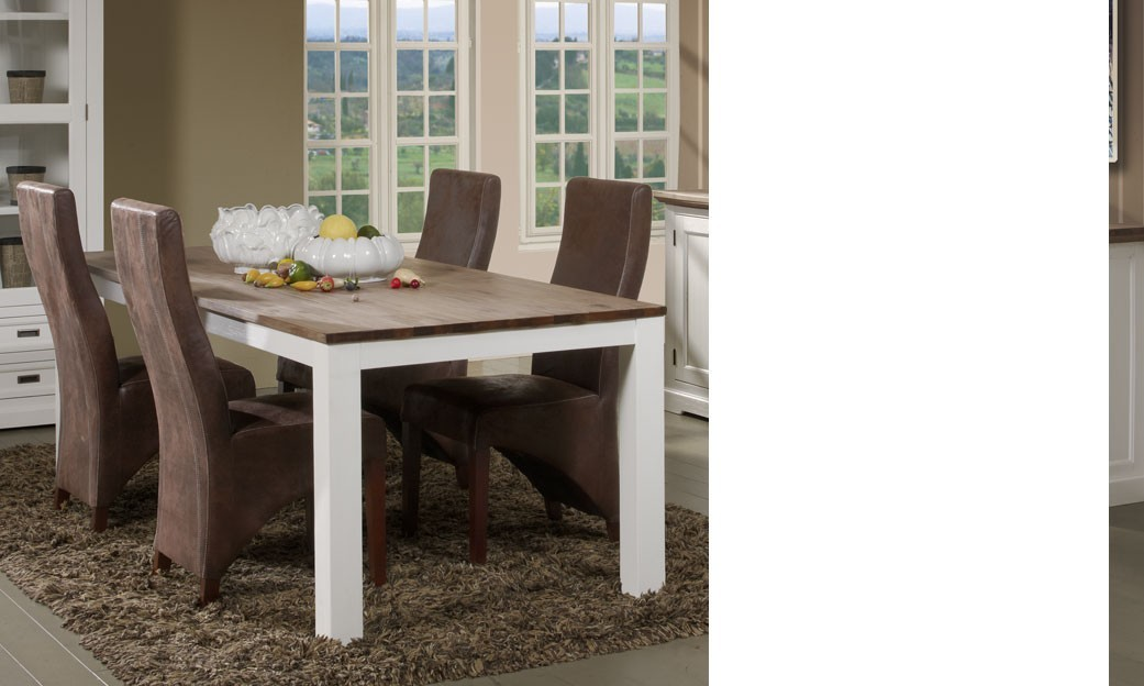 Table à manger couleur blanc et marron en bois massif contemporain HORUS