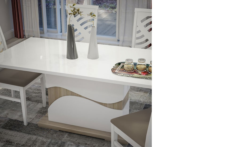 Table manger moderne for Table salle a manger bois et blanc