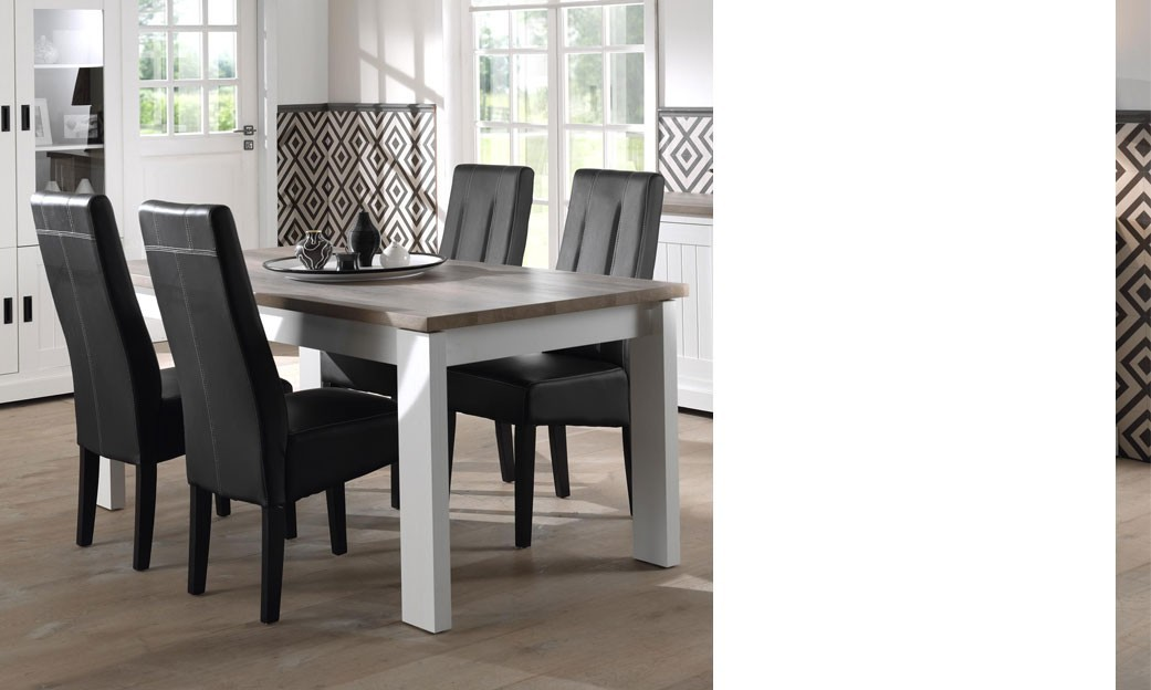 Table salle a manger blanc et bois d coration de maison for Table a manger blanc
