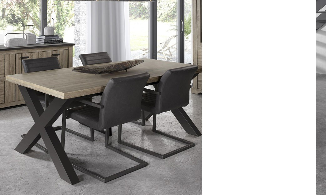 Table manger contemporaine couleur bois clair et gris anthracite galop - Table a manger pas chere ...