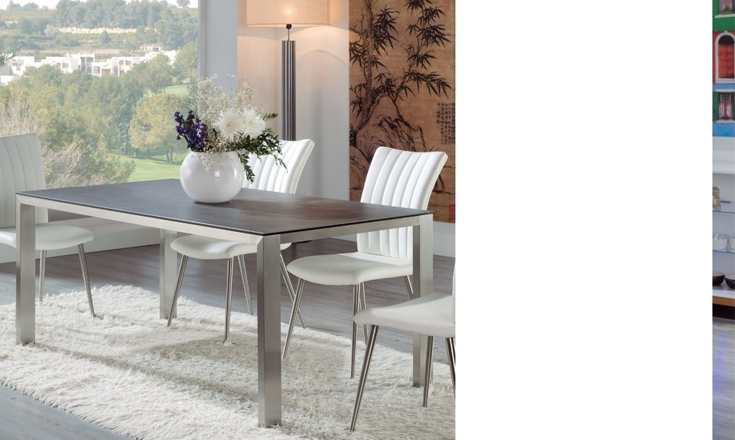 table manger design en c ramique gris et acier tripoli. Black Bedroom Furniture Sets. Home Design Ideas