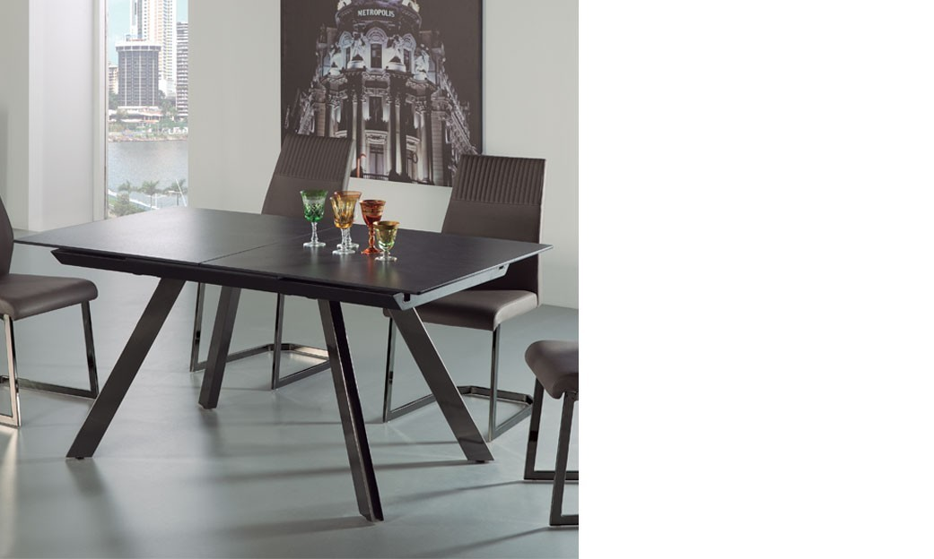 table a manger extensible noire. Black Bedroom Furniture Sets. Home Design Ideas