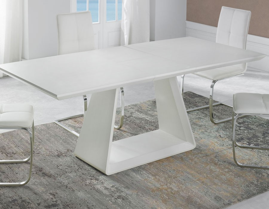 Table a manger extensible blanc mat design tenda for Table salle a manger 5 metres