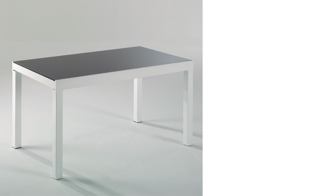 Table manger extensible blanc et gris laqu design adrien for Table a manger extensible blanc laque