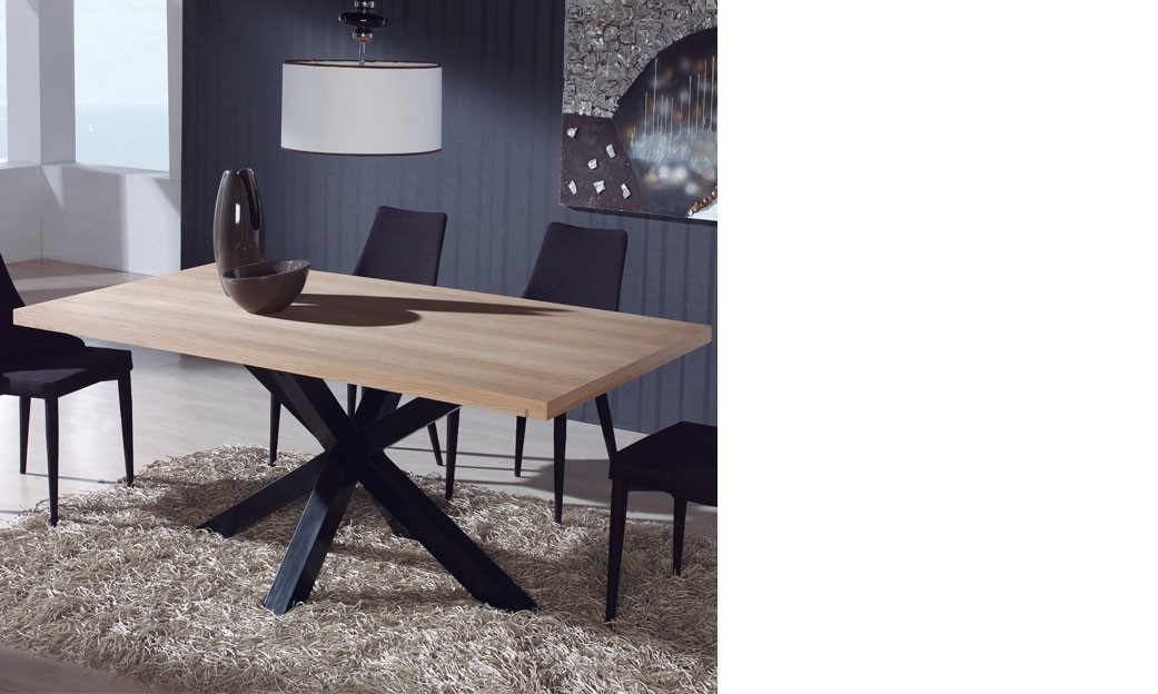 Table manger industrielle en ch ne et m tal aramis - Table a manger industrielle ...