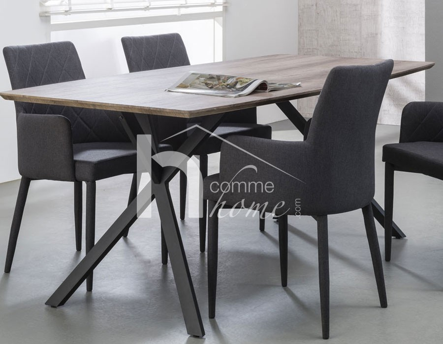 table a manger moderne chene acier cruzar zd1. Black Bedroom Furniture Sets. Home Design Ideas