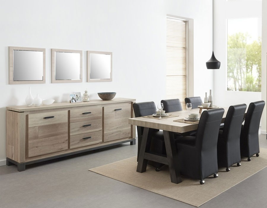 table a manger moderne chene acier noir chester 3 zd1 1. Black Bedroom Furniture Sets. Home Design Ideas
