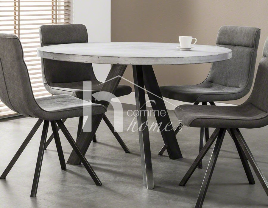 table a manger ronde beton inox ciceron. Black Bedroom Furniture Sets. Home Design Ideas