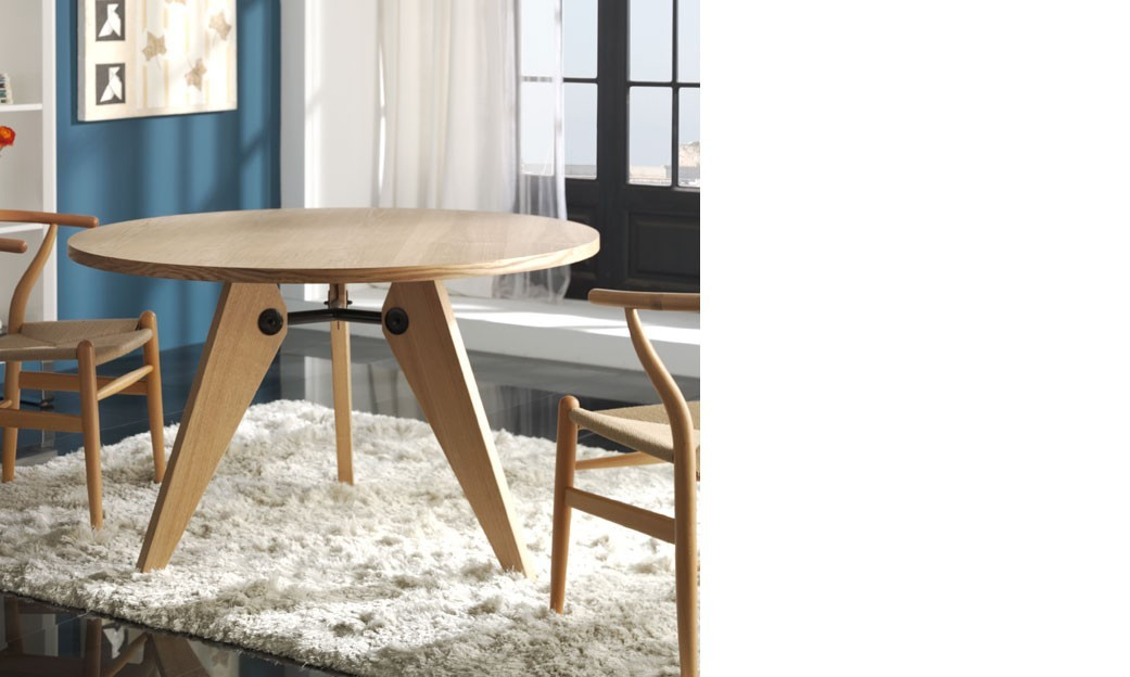 Table ronde salle a manger contemporaine couleur bois kieros for Table a manger contemporaine