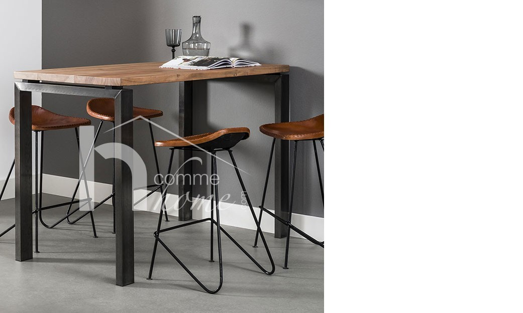 Table haute industrielle en bois et inox will for Table 6 haute pocket