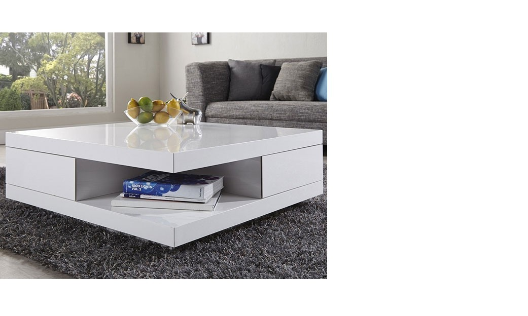 Table basse carr e design blanc laqu avec 2 tiroirs marne for Table salon laque blanc