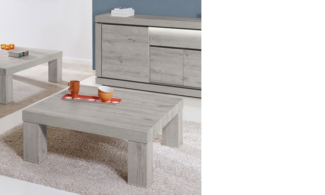 Table basse carr e contemporaine couleur ch ne gris pasadena - Table carree contemporaine ...