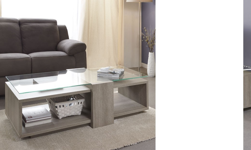 Table basse moderne couleur ch ne gris jaqen - Table de salon pas chere ...
