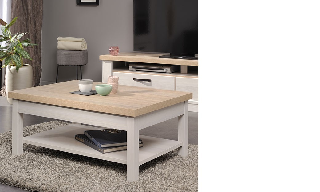 table basse contemporaine couleur bois blanc ambroise. Black Bedroom Furniture Sets. Home Design Ideas