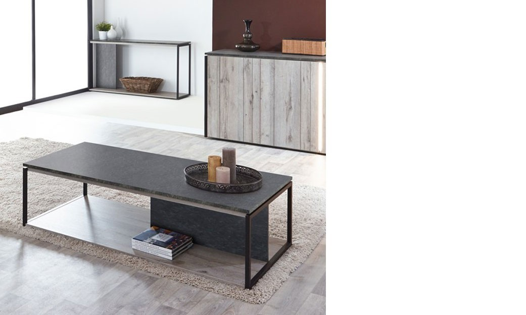 table basse industrielle ch ne gris et marbre. Black Bedroom Furniture Sets. Home Design Ideas