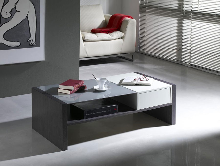 Table basse contemporaine kassy zd1 tbas c - Table basse blanche tiroir ...