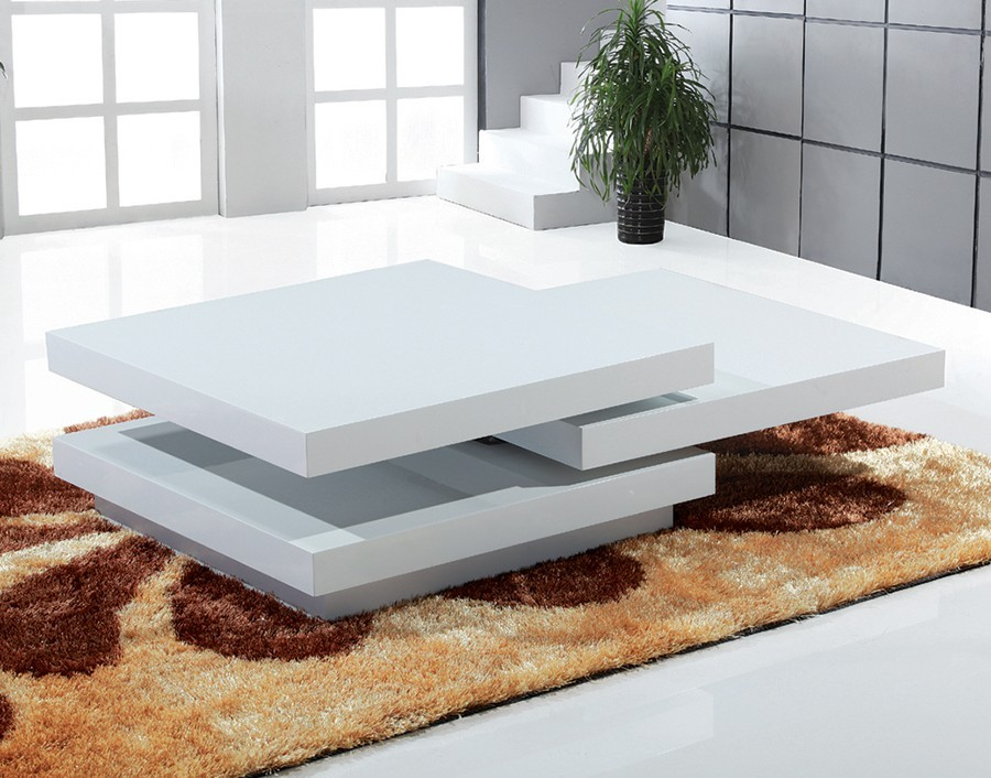 Table basse design bella - Table basse blanc laque design ...