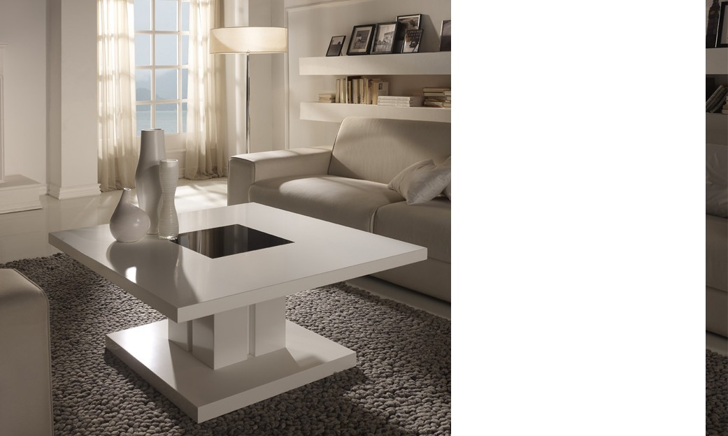 Table basse carrée design laquée blanche WILLY