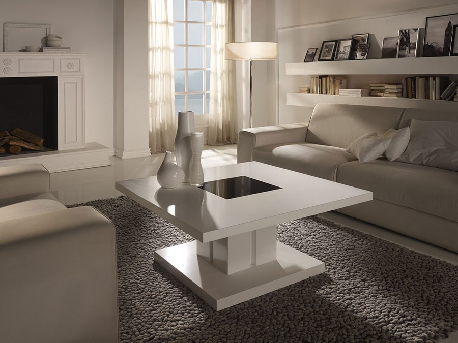 Table basse design blanc noir willy zd1 tbas d - Table basse carree laquee ...