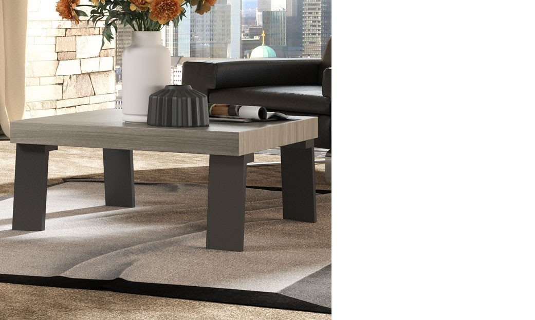 table basse carr e moderne couleur ch ne clair et m tal anthracite trevise. Black Bedroom Furniture Sets. Home Design Ideas