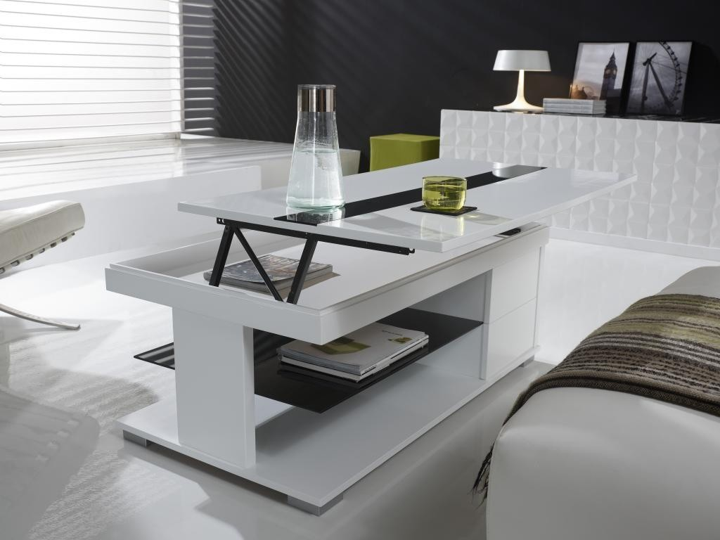 Table basse relevable dolce zd1 tbas r d - Table basse relevable blanc laque ...