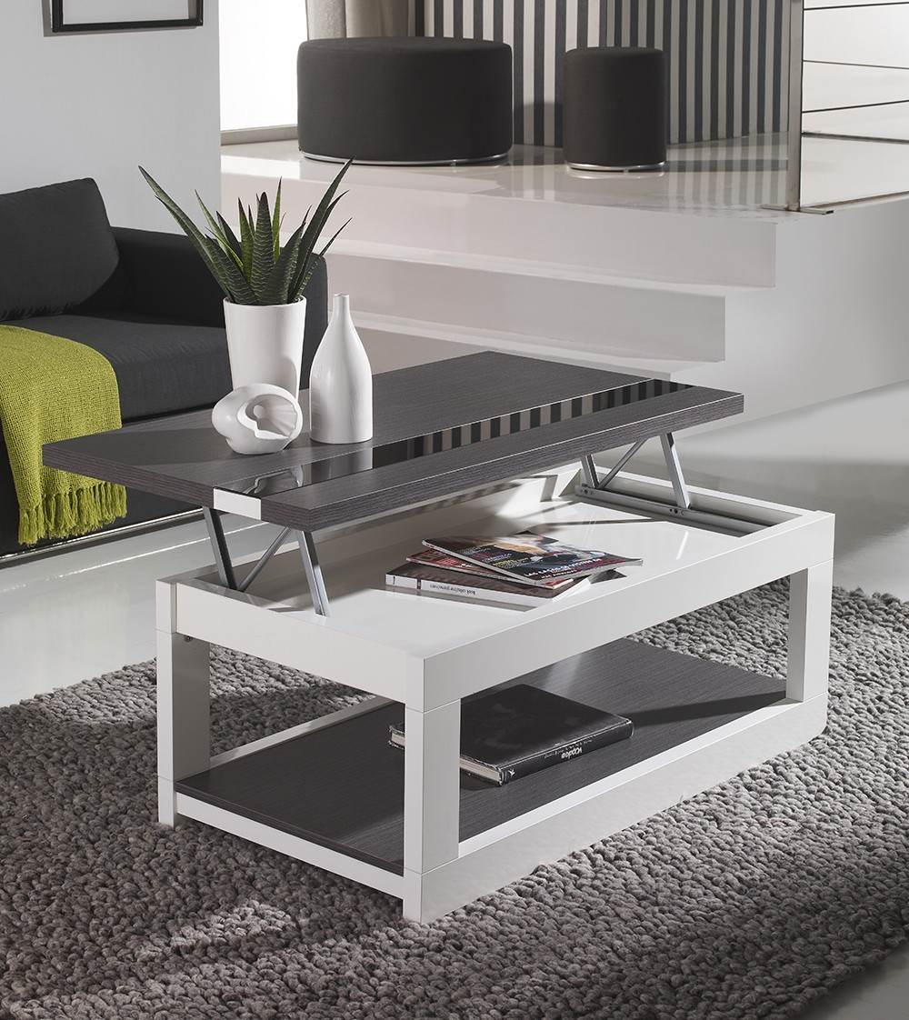 Table basse relevable maryline zd1 tbas r c - Table basse transformable en table haute ...
