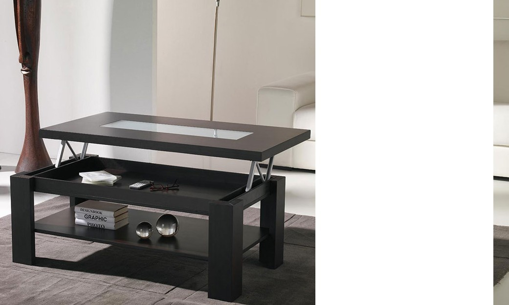 Table basse relevable contemporaine WINA, coloris wengé