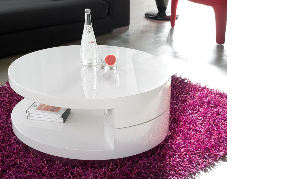 Table basse pivotante ronde blanc laqu design sili - Table ronde transformable ...