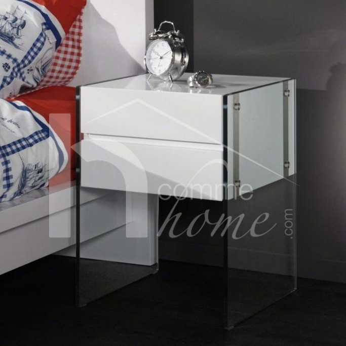Table de chevet design en verre laquee blanche maud2 zd1 - Table de chevet en verre ...