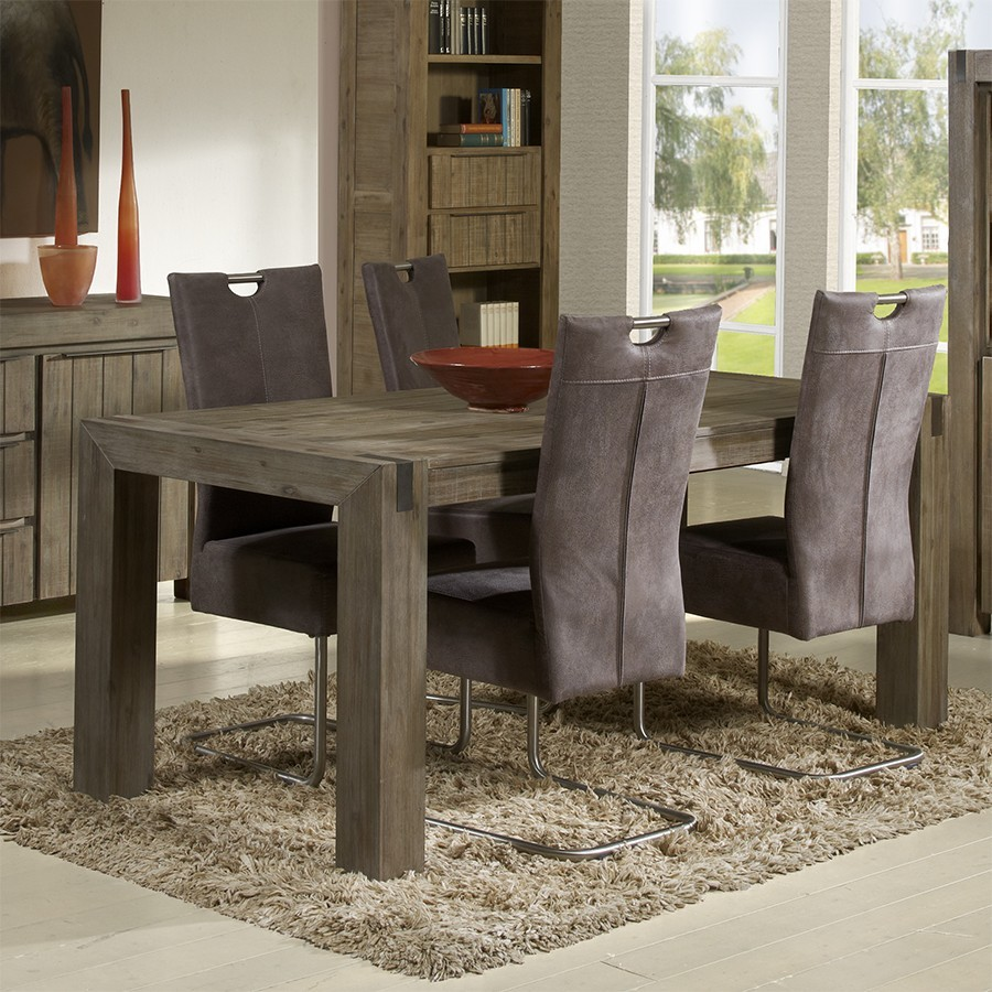 Table de salle a manger contemporaine en acacia ottawa zd1 for Table rectangulaire rallonge
