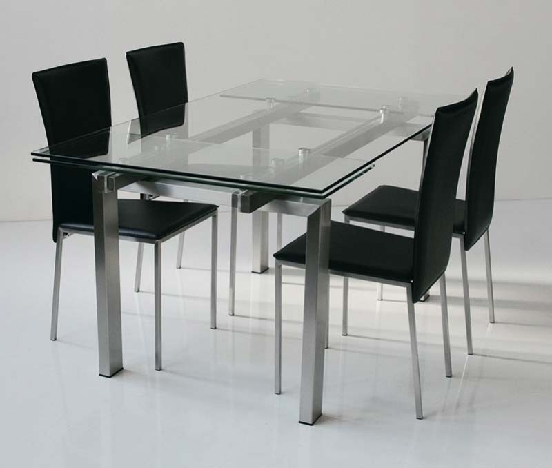 Table design verre acier miranda zd1 tab r d for Table sejour a rallonge