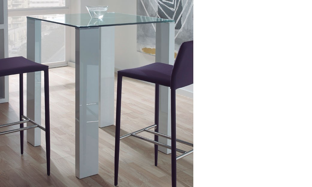 Table haute design verre et laqu blanc berta - Table haute cuisine design ...