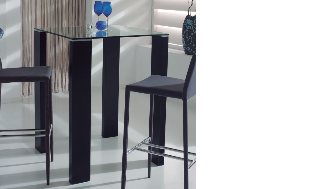 table haute design verre et laqu noir berta 2. Black Bedroom Furniture Sets. Home Design Ideas