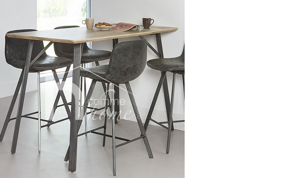 Table haute moderne couleur ch ne et en acier noir nebraska for Table 6 haute pocket