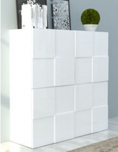 Buffet haut blanc laqué design BETTY