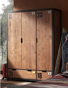 armoire adolescent ou tudiant contemporaine industry 2 ou 3 portes au choix