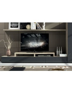 banc tv bas contemporain texas 1 tiroir coloris ch ne gris et laqu anthracite. Black Bedroom Furniture Sets. Home Design Ideas